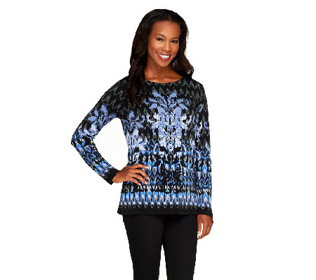Bob Mackie's Long Sleeve Scoop Neck Fantasy Ikat Print Top