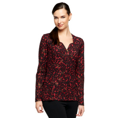 George Simonton Animal Print Zip Front Sweater with Lurex Detail