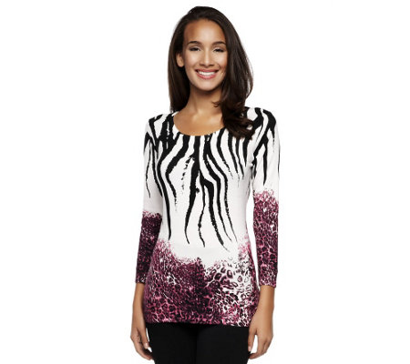 Attitudes by Renee Animal Print Crew Neck Sweater