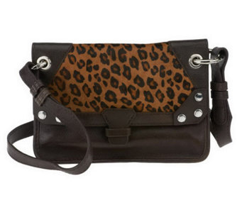 """As Is"" orYANY Bella Leather and Haircalf Medium Crossbody - A254202"