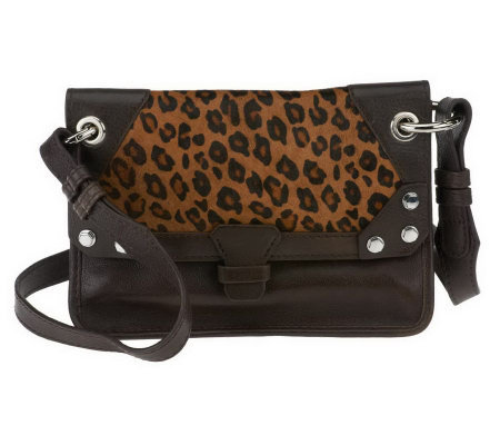 """As Is"" orYANY Bella Leather and Haircalf Medium Crossbody"