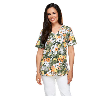 Denim & Co. Perfect Jersey Floral Print V-neck Top
