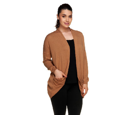 Lisa Rinna Collection Draped Pocket Open Front Cardigan