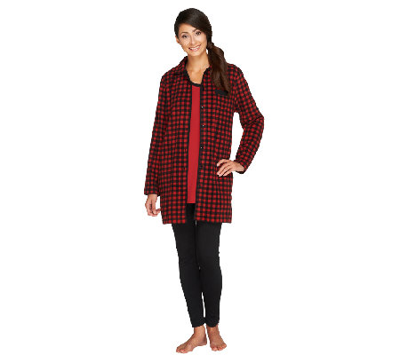 Carole Hochman Petite Pajama Set with Fleece Jacket, Knit Top & Leggings