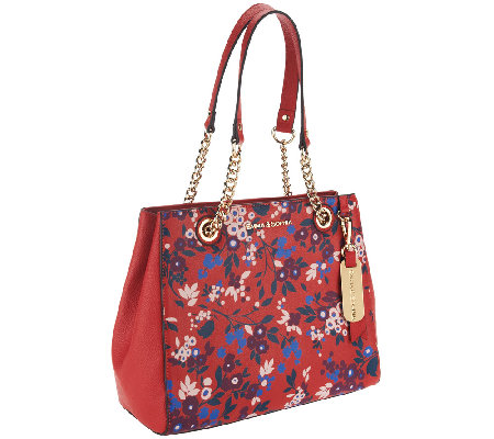 Emma & Sophia Printed or Solid Pebble Leather Chris Tote
