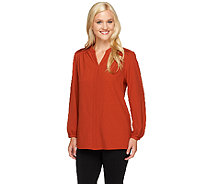 Susan Graver Woven Y-Neck Long Sleeve Top w/ Pleating Detail - A257102