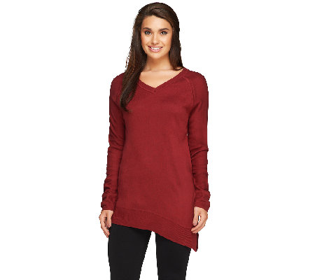 Lisa Rinna Collection Asymmetrical Split Hem Sweater