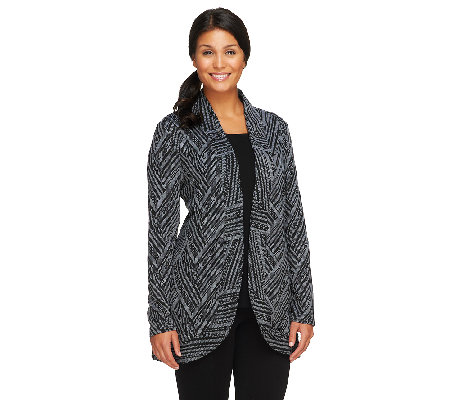 LOGO by Lori Goldstein Jacquard Open Front Jacket