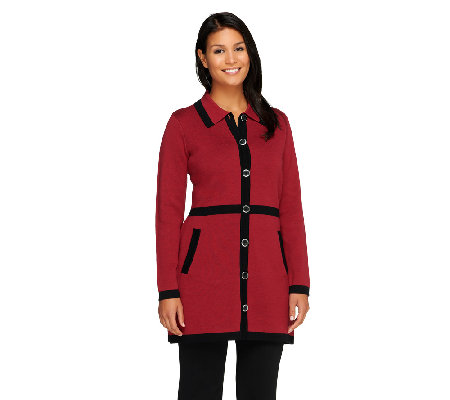Liz Claiborne New York Sweater Coat with Contrast Trim