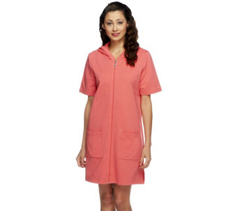 """As Is"" Denim & Co. Beach Zip Front Knit Cover-Up - A260402"