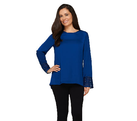 Dennis Basso Blouse with Cuff Detail and Hi-Low Hem