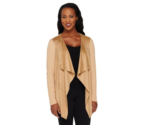 Lisa Rinna Collection Faux Suede Drape Front Knit Cardigan