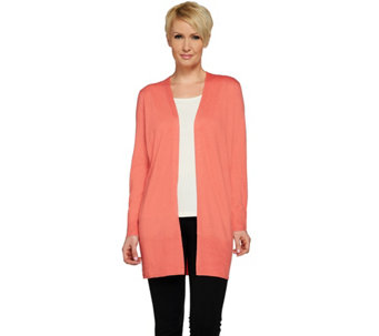 Susan Graver Polyester Rayon Blend Open Front Long Cardigan - A263002
