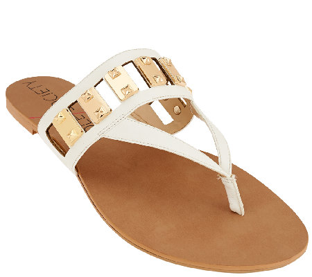 Sole Society Cut-out Thong Sandals with Hardware - Jude