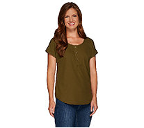 Linea by Louis Dell'Olio Short Sleeve Scoop Neck Top - A266302