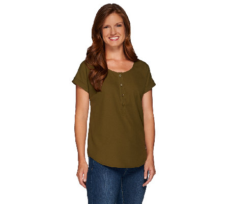 Linea by Louis Dell'Olio Short Sleeve Scoop Neck Top