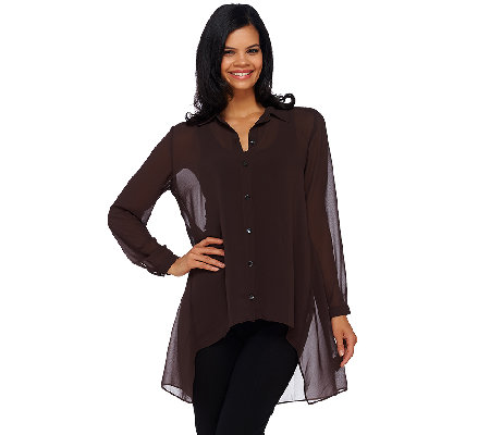 Susan Graver Sheer Chiffon Button Front Hi-Low Hem Shirt