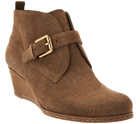 Franco Sarto Suede Wedge Ankle Boots - Amerosa