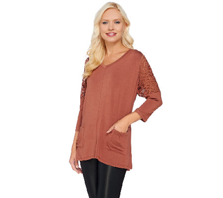 LOGO by Lori Goldstein 3/4 Sleeve Knit Top with Lace Shoulder Detail