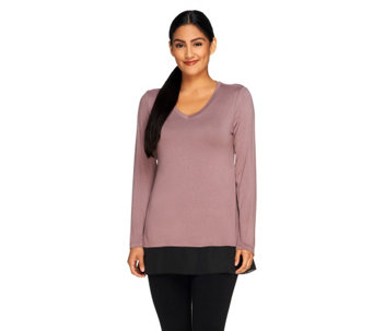 """As Is"" LOGO by Lori Goldstein Knit Top with Panels & Side Godets - A269402"