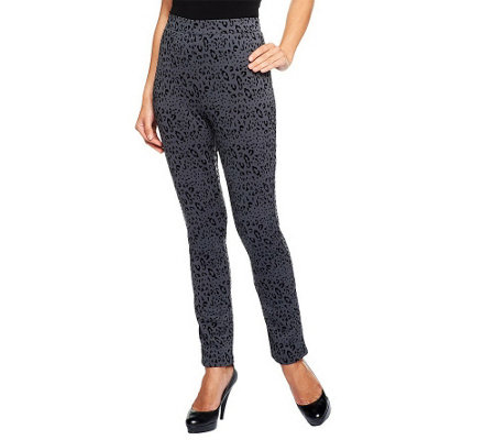 """As Is"" LOGO by Lori Goldstein Regular Animal Print Scuba Knit Pants"