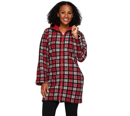 Denim & Co. Plaid Printed Fleece Jacket with Sherpa Lining