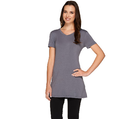 """As Is"" LOGO Layers by Lori Goldstein V-neck Short Sleeve Knit Top"