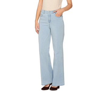 Isaac Mizrahi Live! Tall 24/7 Denim Wide Leg 5-Pocket Pants - A273102