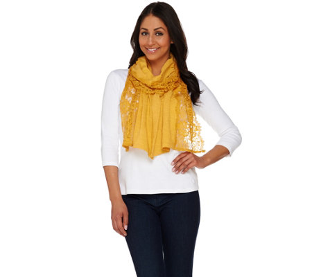 LOGO by Lori Goldstein Cotton Slub Knit Scarf with Scalloped Lace