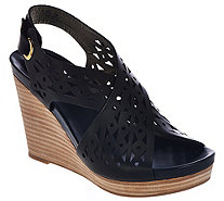 Me Too Leather Perforated Cross Strap Wedges - Aubree - A274302