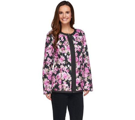Dennis Basso Lightweight Water Resistant Floral Print Quilted Jacket