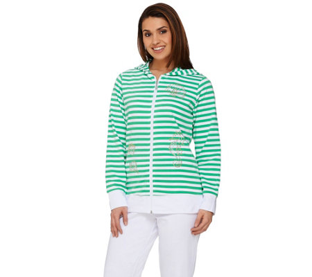 Quacker Factory Striped Zip Front Jacket and Capri Pants Set