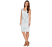 H by Halston Printed Sleeveless Drape Front Dress - A276402