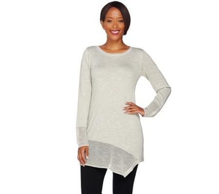 LOGO by Lori Goldstein Knit Sweater w/ Textured Stitch & Angled Hem