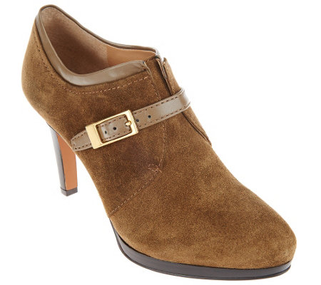 """As Is"" Franco Sarto Suede Booties with Buckle Detail - Sabelle"