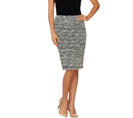 """As Is"" Joan Rivers Heathered Knit Pull-On Slim Skirt"