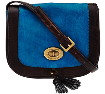 """As Is"" Tignanello Glazed Vintage Leather Saddle Crossbody Bag - A278402"