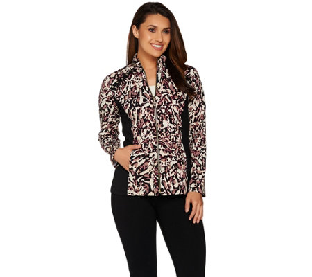 Susan Graver Weekend Printed Stretch Cotton Modal Jacket w/ Embellishment