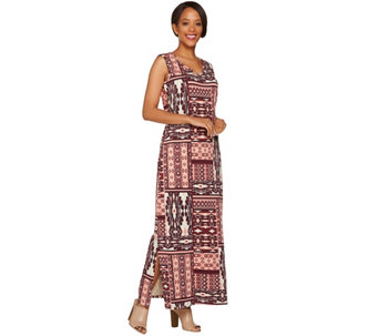 Denim & Co. Patchwork Printed Sleeveless Maxi Dress - A279002