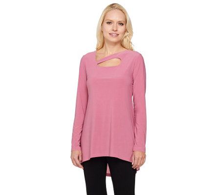 """As Is"" Attitudes by Renee Long Sleeve Keyhole Neck Jersey Top"