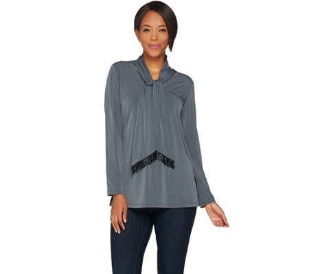 Susan Graver Liquid Knit Tunic with Beaded Ties