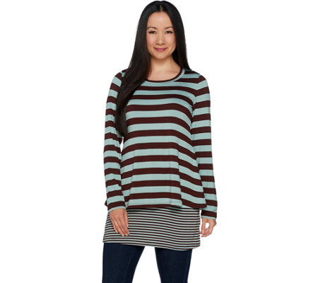 LOGO by Lori Goldstein Stripe Top and Contrast Stripe Tank Twin Set
