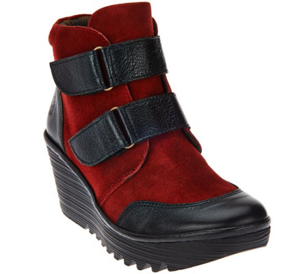 FLY London Suede Wedge Boots - Yugo