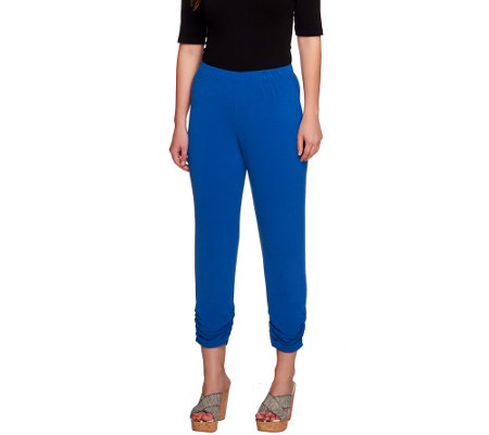 """As Is"" George Simonton Ruched Crystal Knit Cropped Pants"