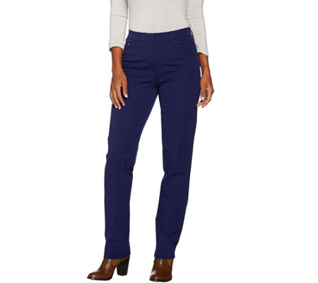 Isaac Mizrahi Live! Tall 24/7 Stretch Straight Leg Fly Front Pants