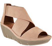Clarks Artisan Nubuck Leather Back Zip Wedge Sandals - Clarene Glamour - A288102