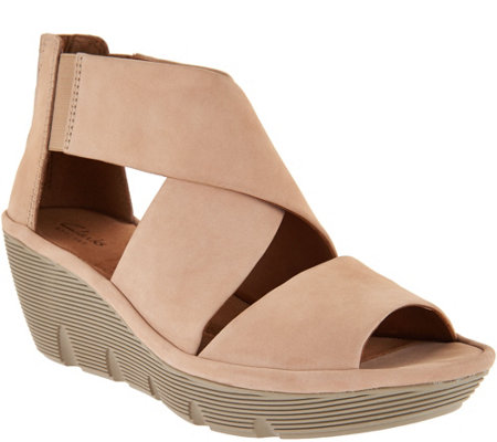 Clarks Artisan Nubuck Leather Back Zip Wedge Sandals - Clarene Glamour