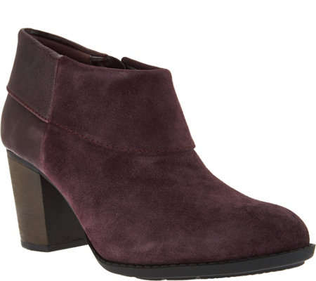 """As Is"" Clarks Leather Side Zip Cuffed Booties - Enfield Canal"