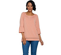 C. Wonder Stretch Peasant Blouse with 3/4 Flutter Sleeves - A289702