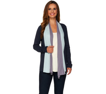 """As Is"" LOGO by Lori Goldstein Cotton Cashmere Color Block Cardigan - A290302"
